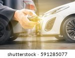 the concept of a car insurance... | Shutterstock . vector #591285077