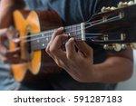 musician playing ukulele. | Shutterstock . vector #591287183