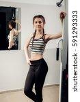 women doing push ups training... | Shutterstock . vector #591293333