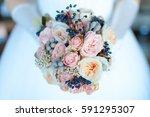 beautiful wedding bouquet.... | Shutterstock . vector #591295307