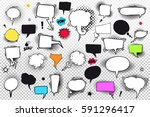 set of comic speech bubbles and ... | Shutterstock .eps vector #591296417