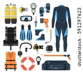 equipment for diving in a flat...
