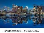 boston skyline at dusk from... | Shutterstock . vector #591302267