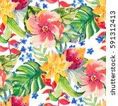 watercolor floral botanical... | Shutterstock . vector #591312413