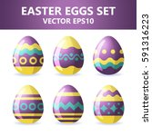 Easter Eggs Icons. Vector...