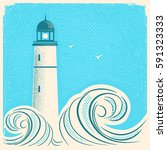lighthouse blue poster.vector... | Shutterstock .eps vector #591323333