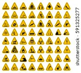 warning hazard triangle signs... | Shutterstock .eps vector #591325277