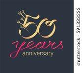 50 years anniversary vector... | Shutterstock .eps vector #591333233