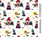 halloween vector seamless... | Shutterstock .eps vector #591356033