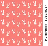 Stock vector easter rabbit pattern vector illustration fashion textile rabbit print spring holiday 591358367
