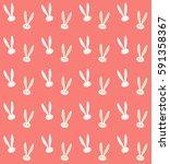 easter rabbit pattern. vector... | Shutterstock .eps vector #591358367