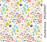 seamless cute autumn pattern... | Shutterstock .eps vector #591359447