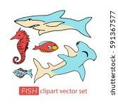 vector under water sea life... | Shutterstock .eps vector #591367577