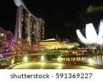 helix bridge of singapore and... | Shutterstock . vector #591369227