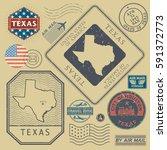 retro vintage postage stamps... | Shutterstock .eps vector #591372773