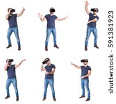 beard man using virtual reality ... | Shutterstock . vector #591381923