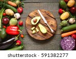 assortment of vegetables... | Shutterstock . vector #591382277