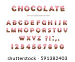 pink cream melted on chocolate... | Shutterstock .eps vector #591382403