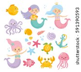 Stock vector set of cute mermaids and aquatic nature cute sea objects collection octopus seashells jellyfish 591390593