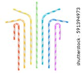 colorful drinking straws vector.... | Shutterstock .eps vector #591394973