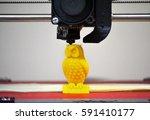 modern 3d printer printing... | Shutterstock . vector #591410177