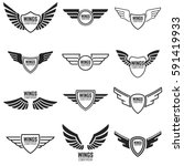 winged emblems  frames  icons ... | Shutterstock .eps vector #591419933