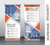 roll up brochure flyer banner... | Shutterstock .eps vector #591424577