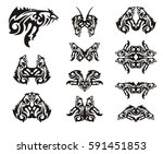 unusual fish symbol and other... | Shutterstock .eps vector #591451853