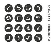 arrow icon set in circle buttons | Shutterstock .eps vector #591474503