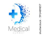 vector medical logo  sign with... | Shutterstock .eps vector #591489857