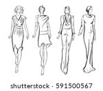 sketch. fashion girls on a... | Shutterstock .eps vector #591500567