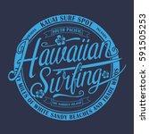 hawaii surfing typography  tee... | Shutterstock .eps vector #591505253