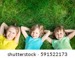 group of happy children playing ... | Shutterstock . vector #591522173