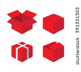 red gift boxes icons collection ... | Shutterstock .eps vector #591531503