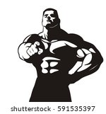 huge muscle bodybuilder points... | Shutterstock .eps vector #591535397