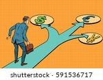 financial crossroads  a choice...   Shutterstock .eps vector #591536717