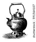 vintage teapot  hand drawn ...   Shutterstock .eps vector #591564107