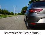car on asphalt road in nature. ...   Shutterstock . vector #591570863