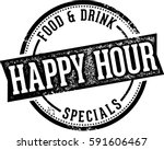 vintage happy hour bar sign | Shutterstock .eps vector #591606467