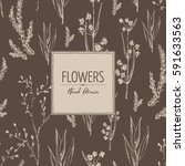 floral background with flower... | Shutterstock .eps vector #591633563