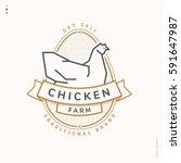 chicken farm linear logo ... | Shutterstock .eps vector #591647987