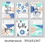 hello spring posters set with... | Shutterstock .eps vector #591651347