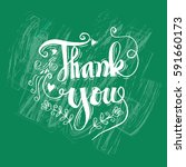 thank you hand lettering.    Shutterstock .eps vector #591660173