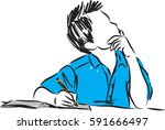 boy writing and thinking vector ...   Shutterstock .eps vector #591666497