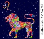 zodiac sign leo with colorful... | Shutterstock .eps vector #591667733