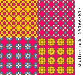 floral cartoon seamless...   Shutterstock .eps vector #591667817
