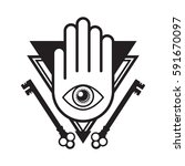 an iconic all seeing eye symbol ... | Shutterstock .eps vector #591670097