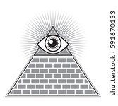 an iconic all seeing eye symbol ... | Shutterstock .eps vector #591670133
