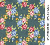 seamless floral pattern with... | Shutterstock .eps vector #591684233