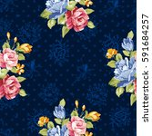 seamless floral pattern with... | Shutterstock .eps vector #591684257